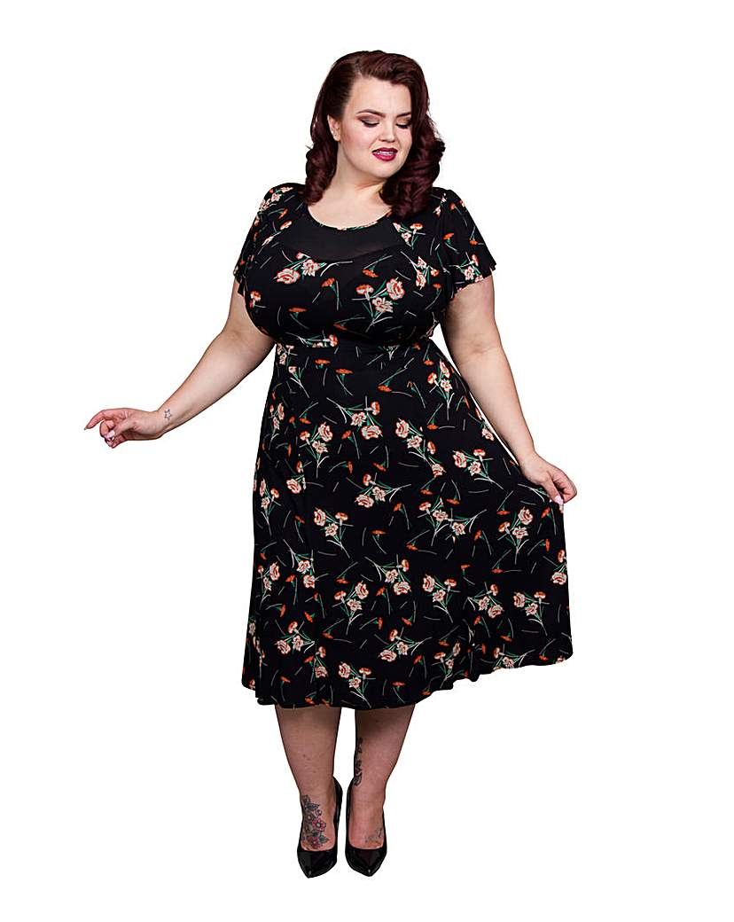 1940s Style Dresses and Clothing Scarlett  Jo Floral Mesh 40s Dress £50.00 AT vintagedancer.com