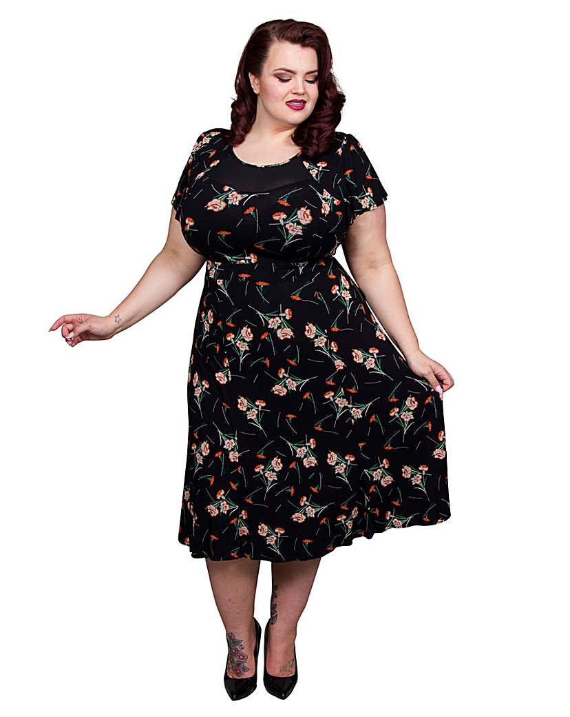 1940s Plus Size Fashion Dresses Scarlett  Jo Floral Mesh 40s Dress £50.00 AT vintagedancer.com
