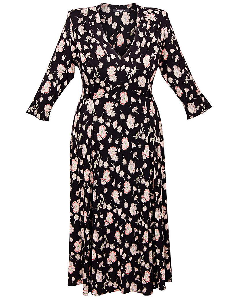 1940s Day Dresses Scarlett  Jo High Collar V Neck Dress £55.00 AT vintagedancer.com