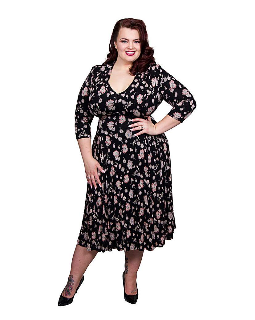 1940s Style Dresses and Clothing Scarlett  Jo High Collar V Neck Dress £55.00 AT vintagedancer.com