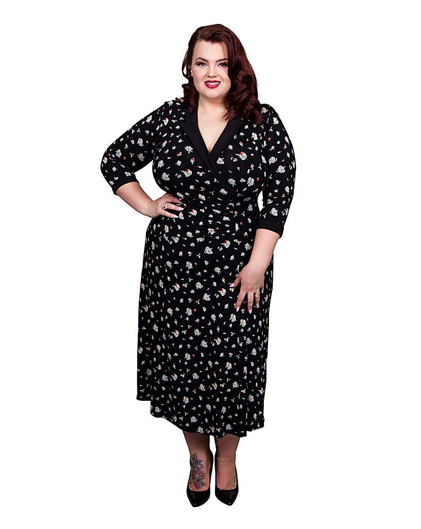 1940s Style Dresses and Clothing Scarlett  Jo Floral Wrap Collar Dress £55.00 AT vintagedancer.com