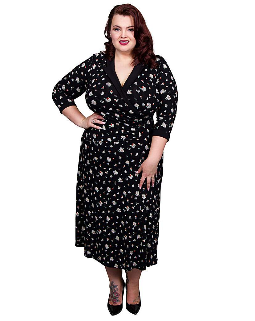 1940s Plus Size Fashion Dresses Scarlett  Jo Floral Wrap Collar Dress £55.00 AT vintagedancer.com