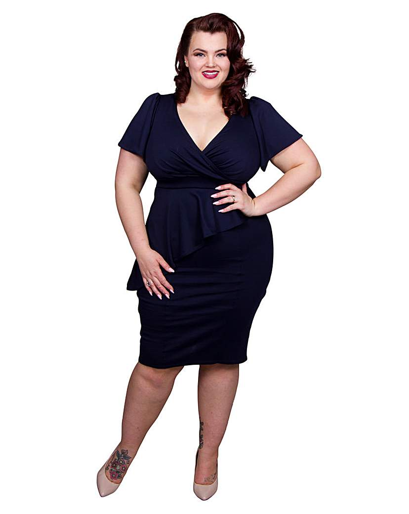 1940s Style Dresses and Clothing Scarlett  Jo Wrap Bodycon Dress £55.00 AT vintagedancer.com