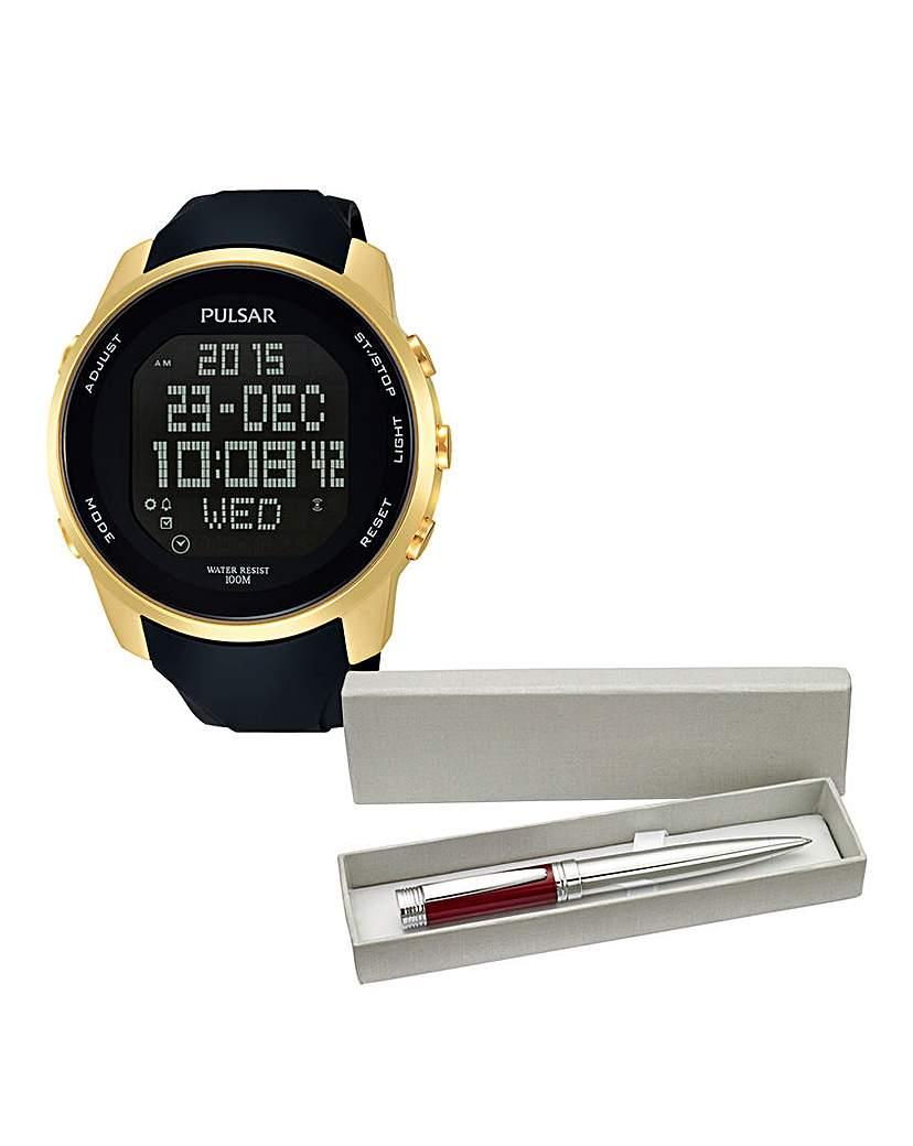 Pulsar Digital Strap Watch and FREE Pen