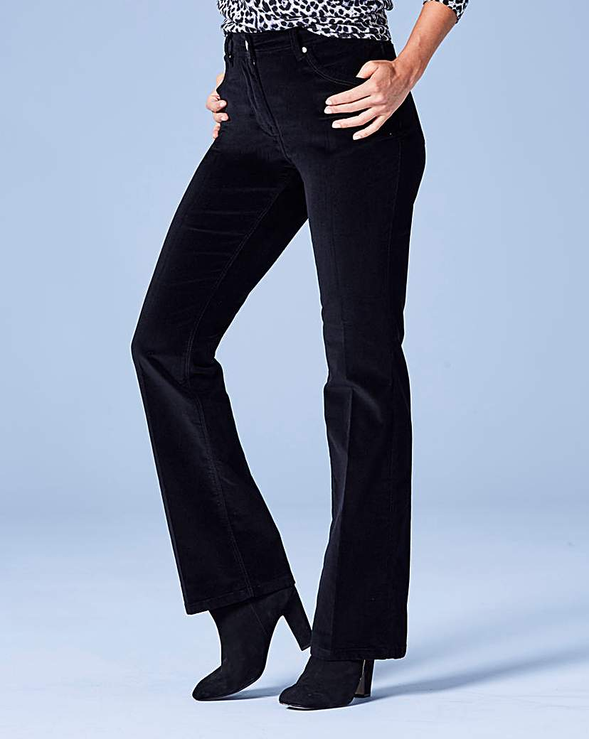 Velvet Bootcut Jeans Short