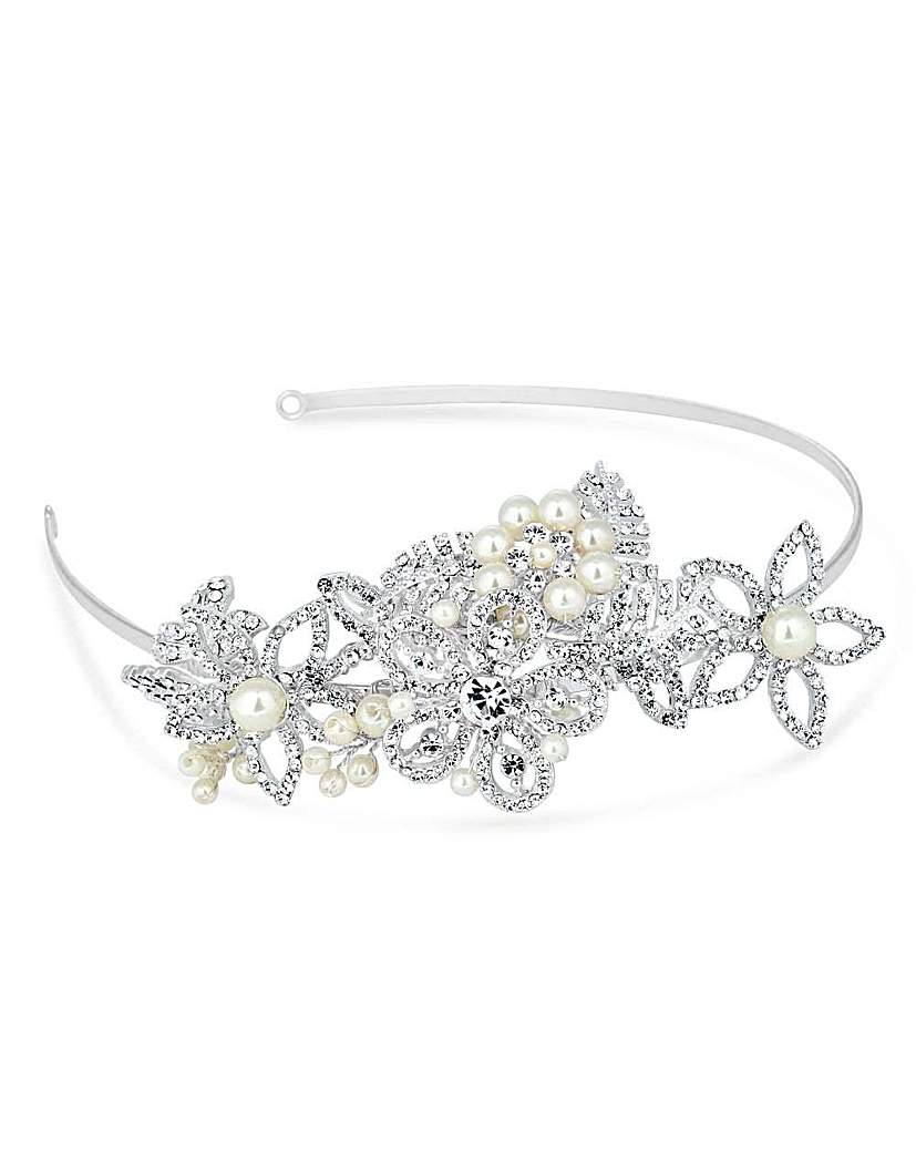 Alan Hannah leaf and flower pearl tiara