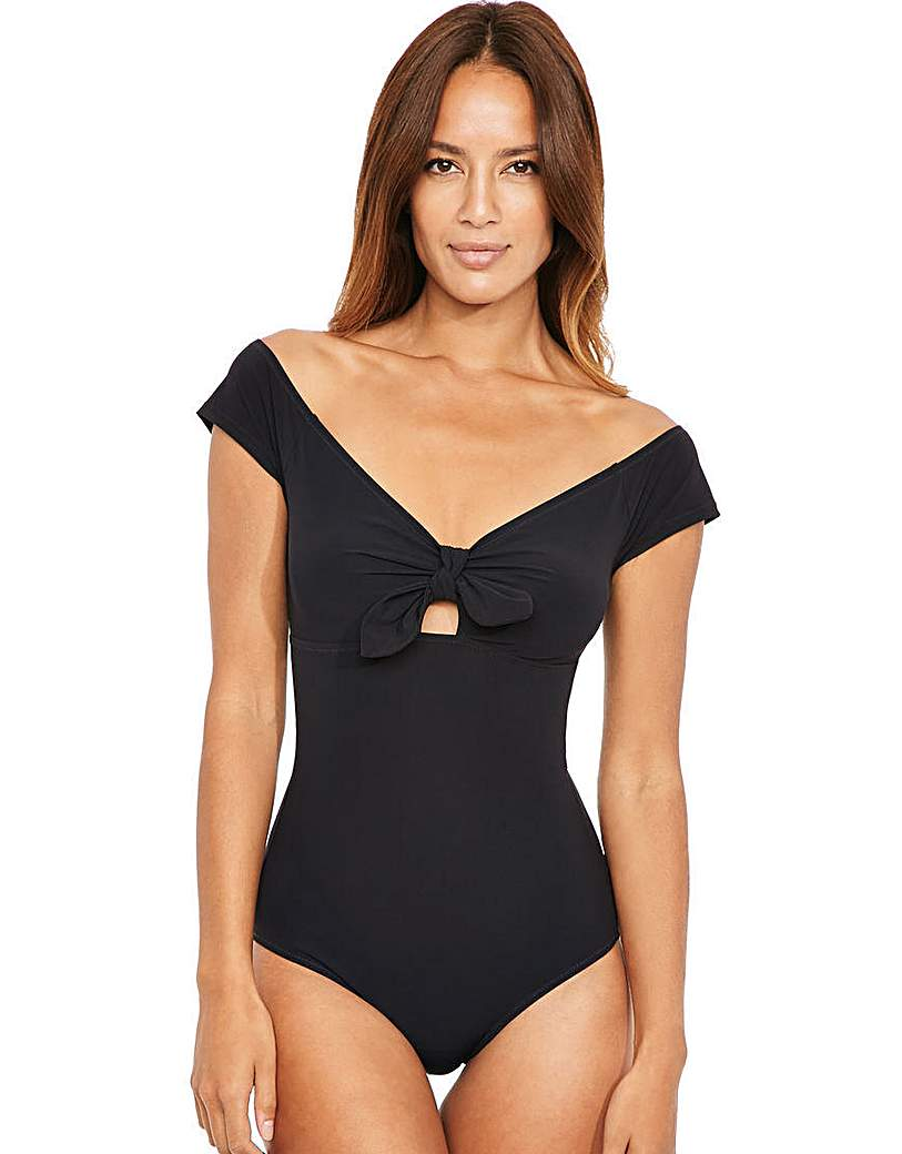 Retro Swimsuits of the 1940s and 1950s Icon Bardot Off The Shoulder Swimsuit £50.00 AT vintagedancer.com