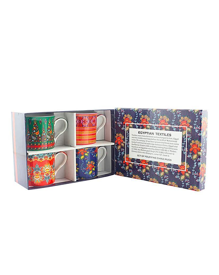Egyptian Textiles Set of 4 Mug Gift Set