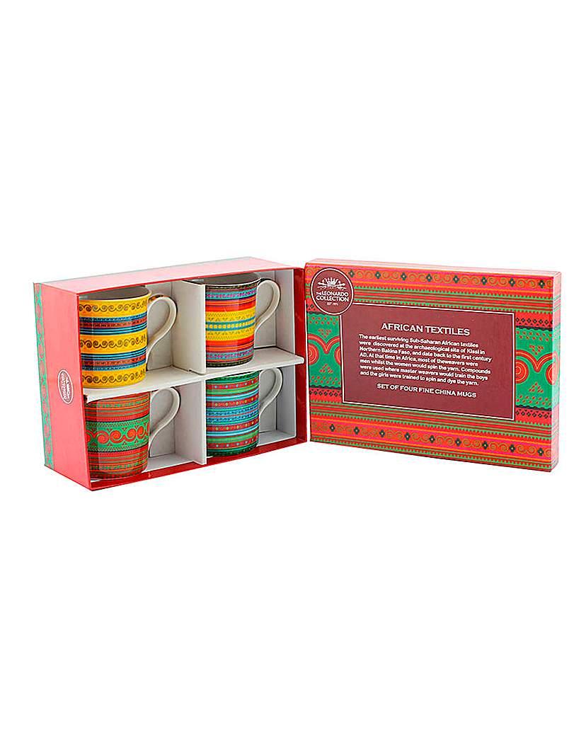 African Textiles Set of 4 Mug Gift Set
