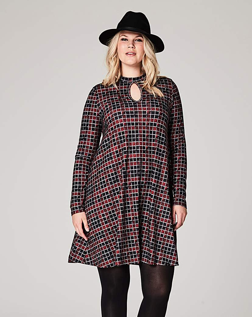 Check Print Jersey Swing Dress