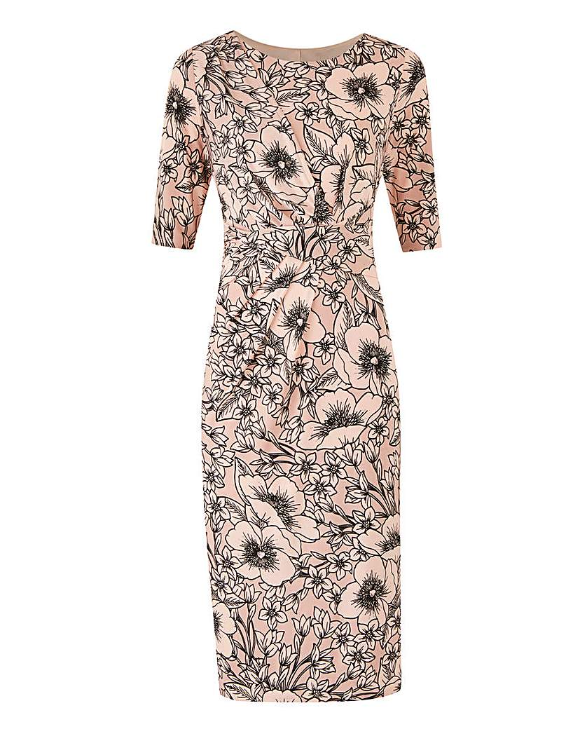 Image of Nude Floral Print Drape Front ITY Dress