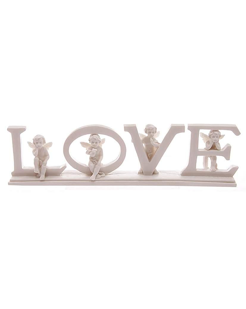 Image of White LOVE Cherub Letters on Base