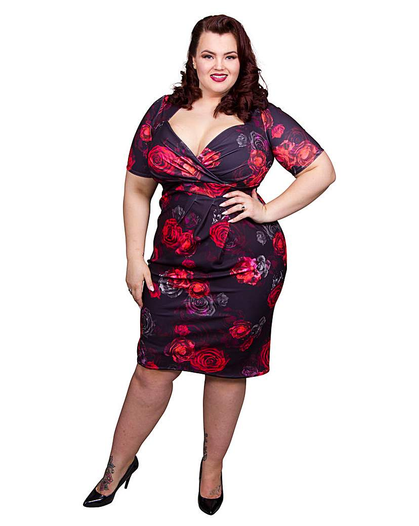 Plus Size Retro Dresses Scarlett  Jo Floral Bodycon Dress £65.00 AT vintagedancer.com