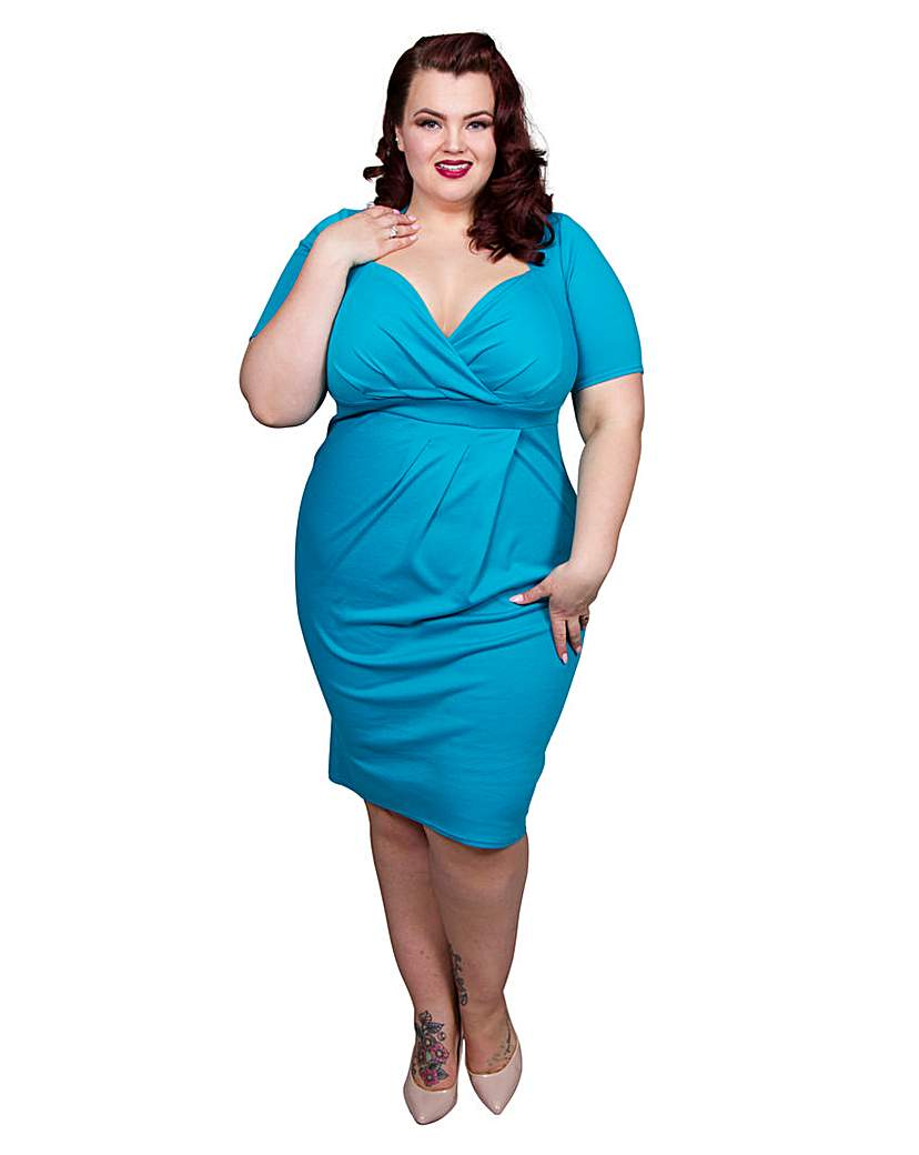 1940s Plus Size Fashion Dresses Scarlett  Jo Bodycon Dress £60.00 AT vintagedancer.com