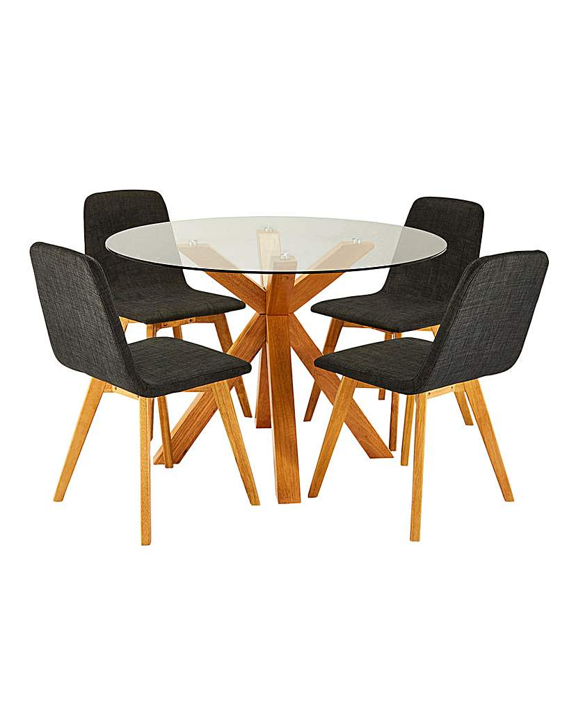 Image of Albany Circular Table and 4 Enzo Chairs