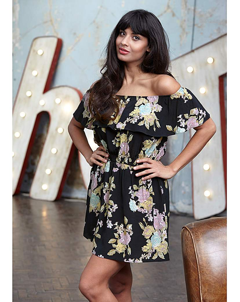 Jameela Jamil Print Off Shoulder Dress