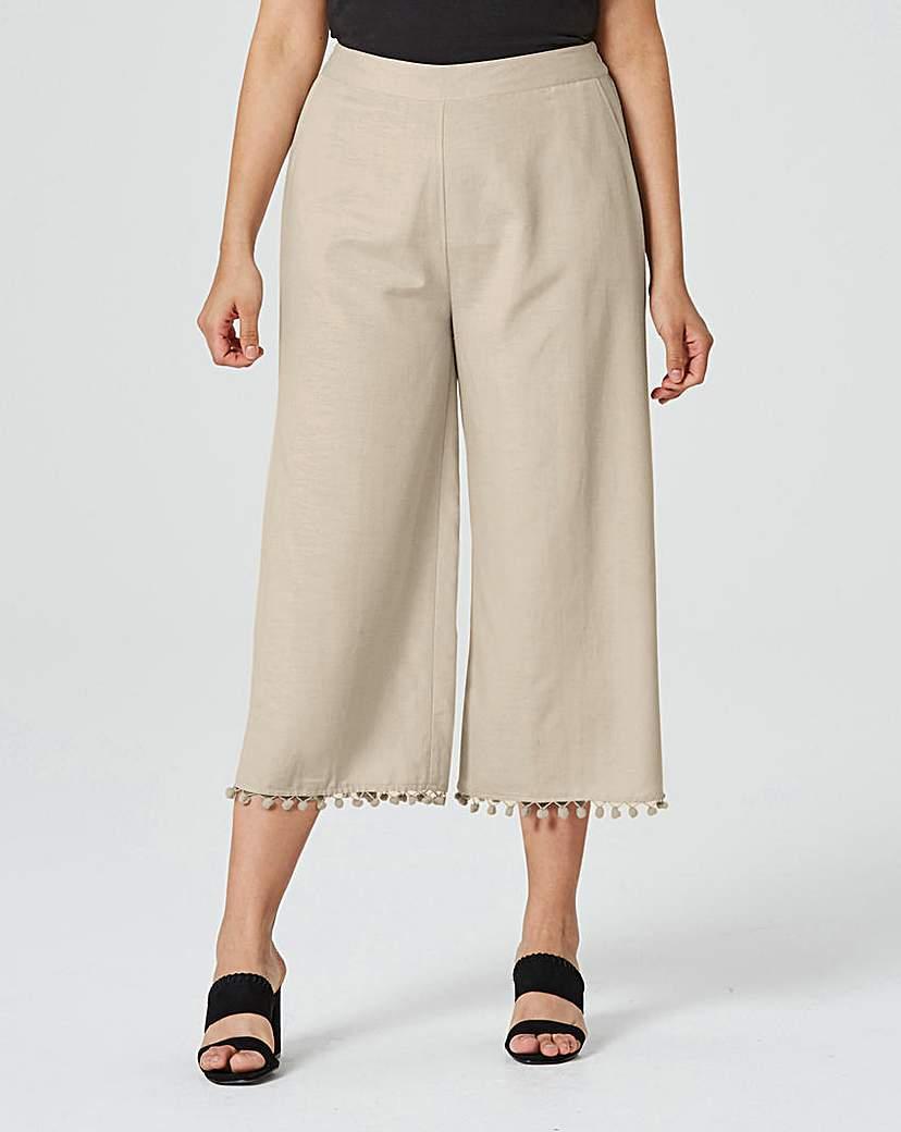 Linen Mix Pom Pom Crop Wide Leg Trouser.