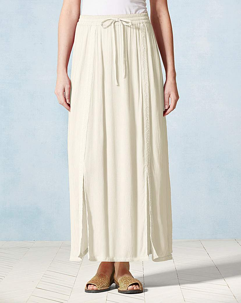 Embroidered Crinkle Maxi Skirt.