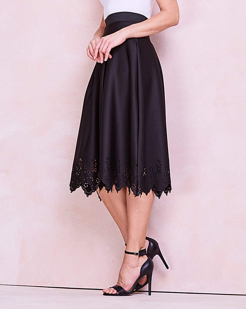 Laser Cut Hem Scuba Prom Skirt.
