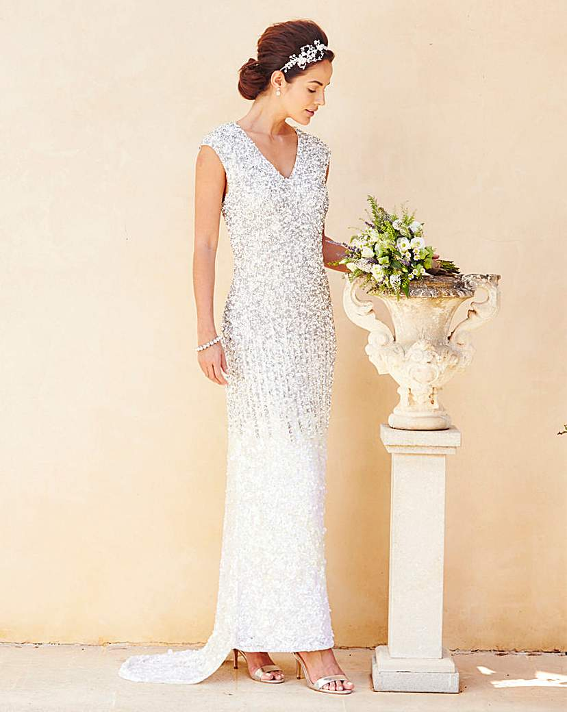 1940s Style Wedding Dresses and Accessories Joanna Hope Sequin Maxi Dress £250.00 AT vintagedancer.com