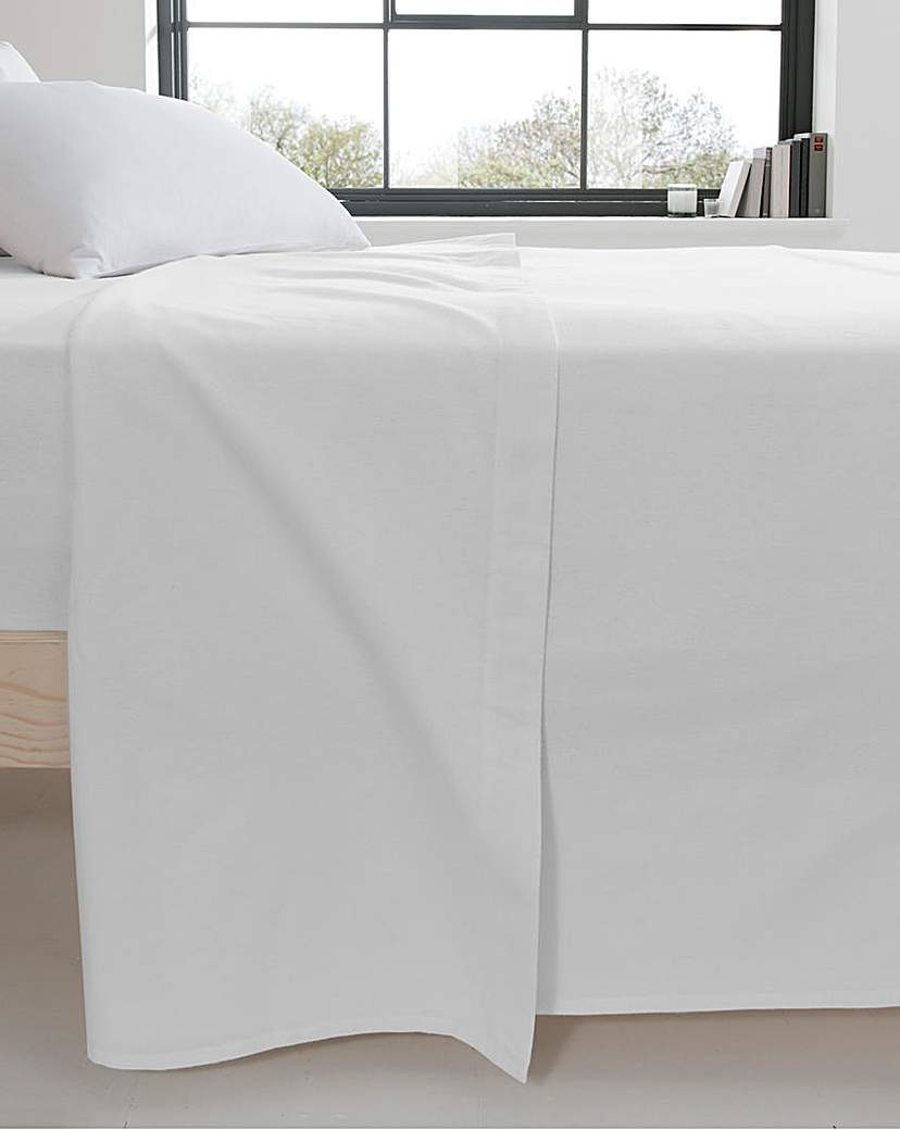 Image of Extra Wide Cotton Flannelette Flat Sheet