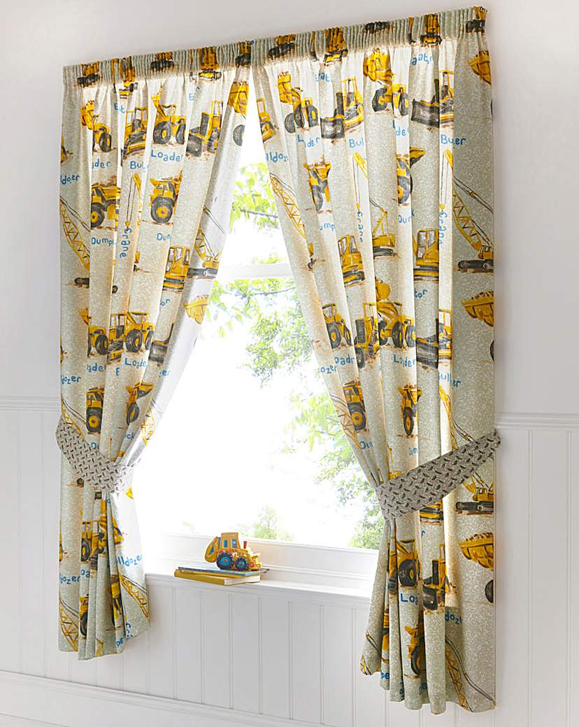 Image of Dumper Trucks Lined Curtains & Tie Backs