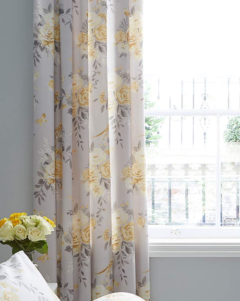 Image of Birdcage Blossom Eyelet Lined Curtains