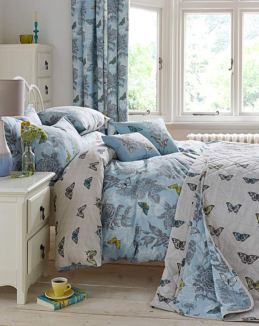 Image of Aviana Butterfly Floral Duvet Cover Set