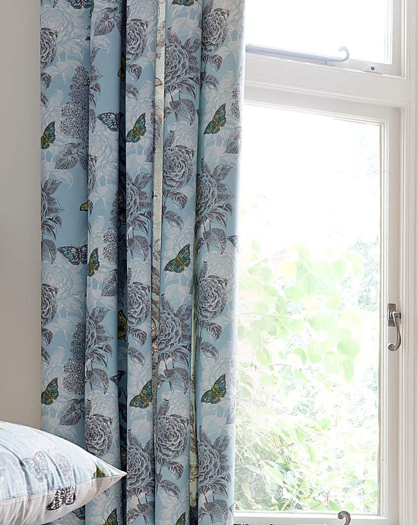 Image of Aviana Butterfly Floral Lined Curtains