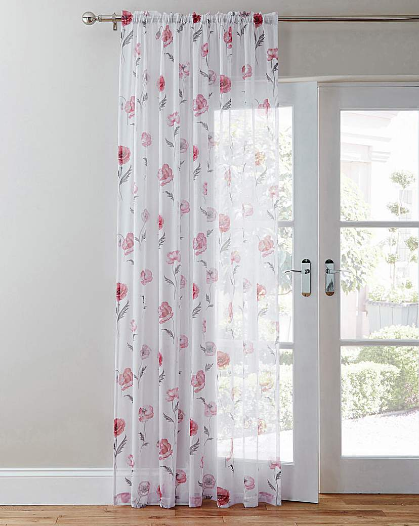 Image of Meadow Poppy Print Linen Look Voile