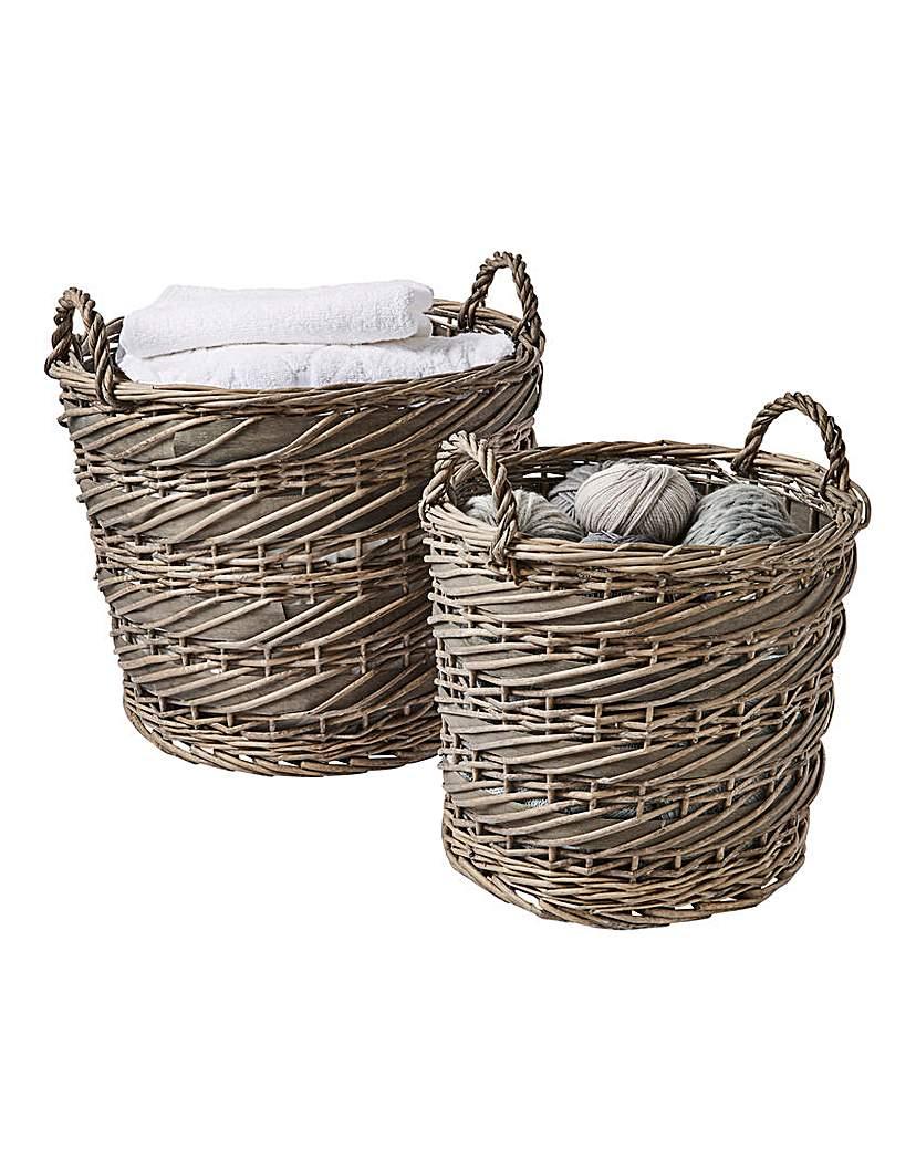 Split Willow Set Of 2 Round Laundry Bkt