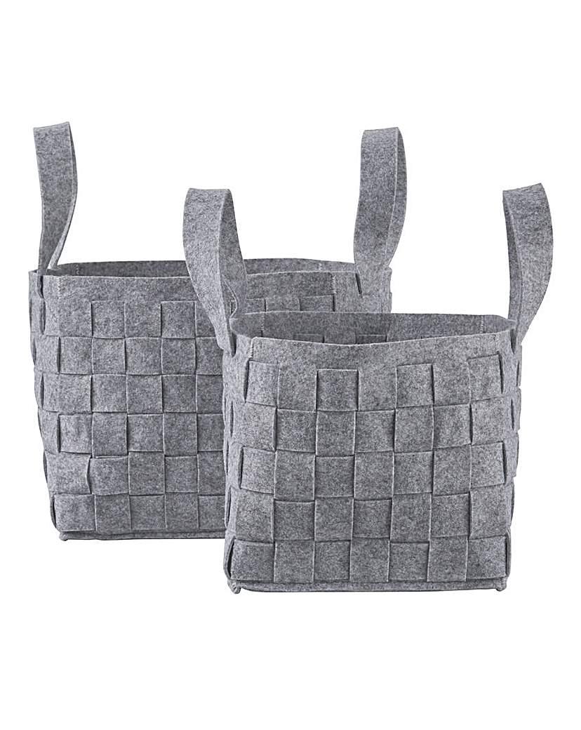 Image of Set of 2 Felt Woven Basket