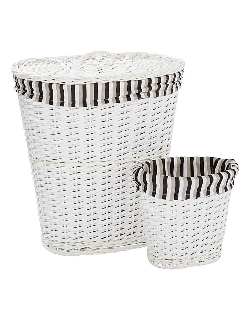 White Split Wood Laundry & Waste Bin