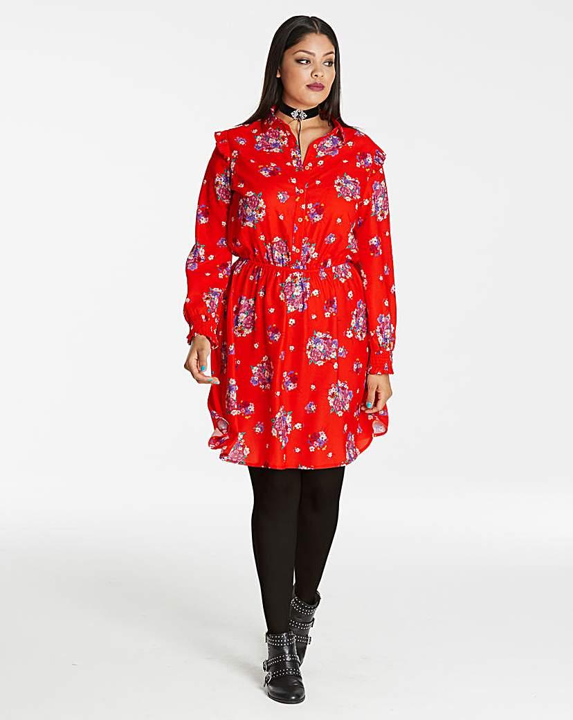 Red Printed Short Shirt Dress