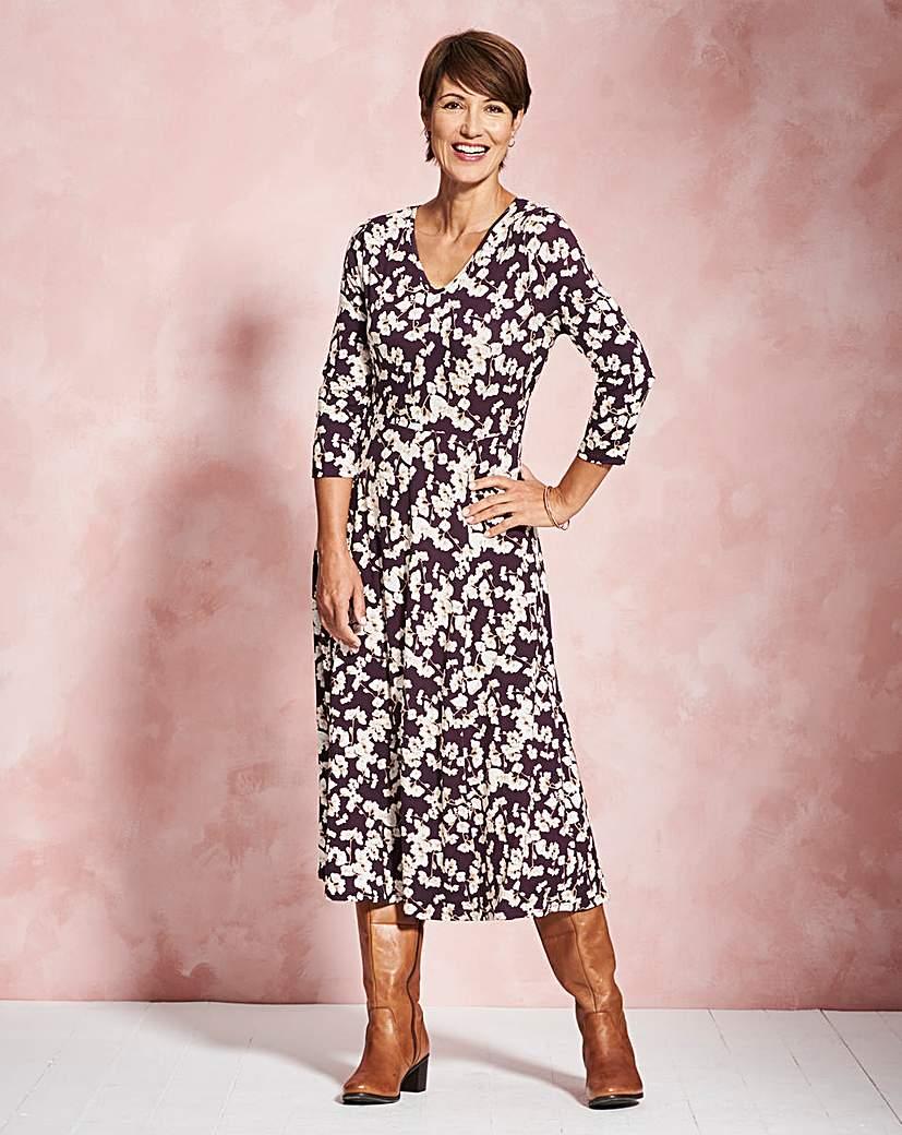 Pansy Print V-Neck Jersey Midi Dress