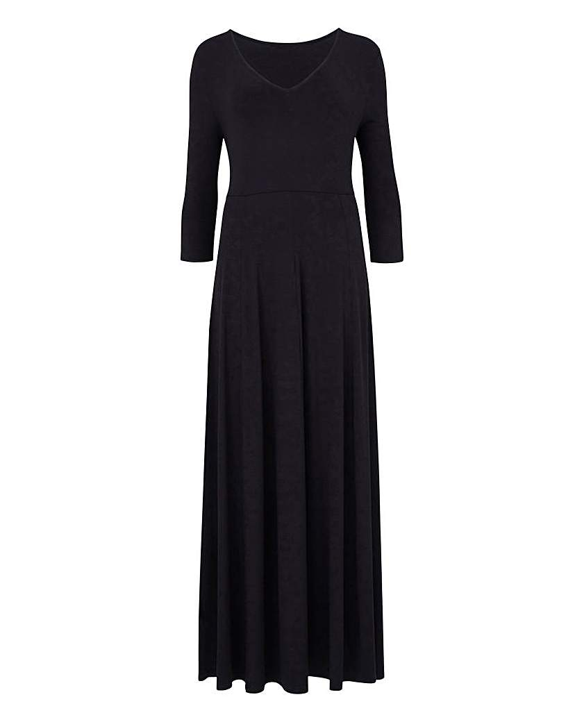 Black V-Neck Jersey Maxi Dress - L 52