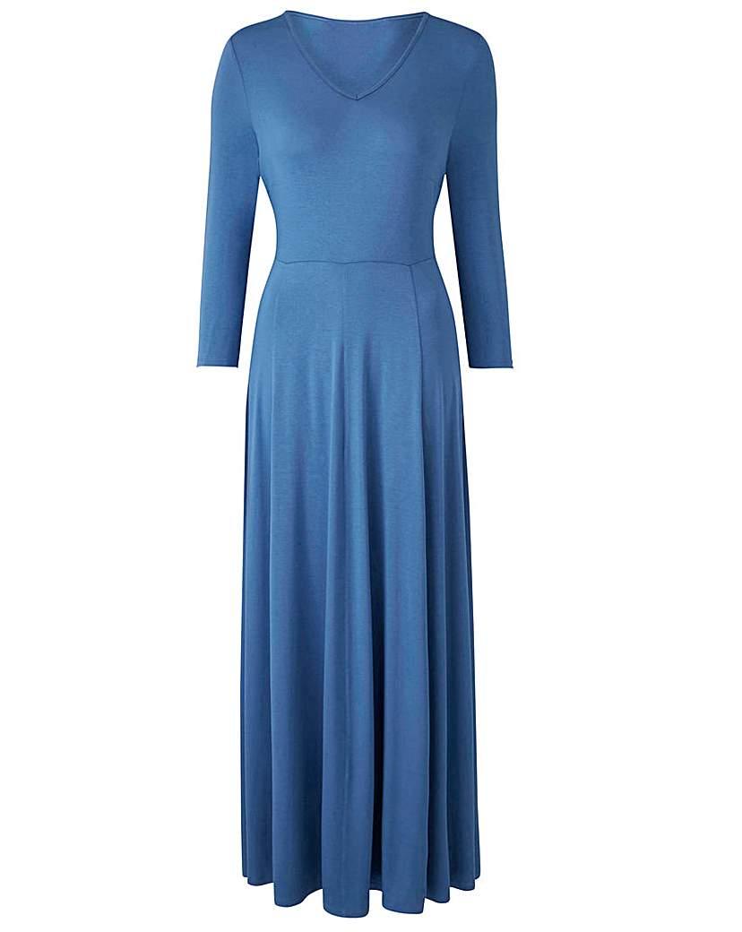 Denim Blue V-Neck Maxi Dress - L 52