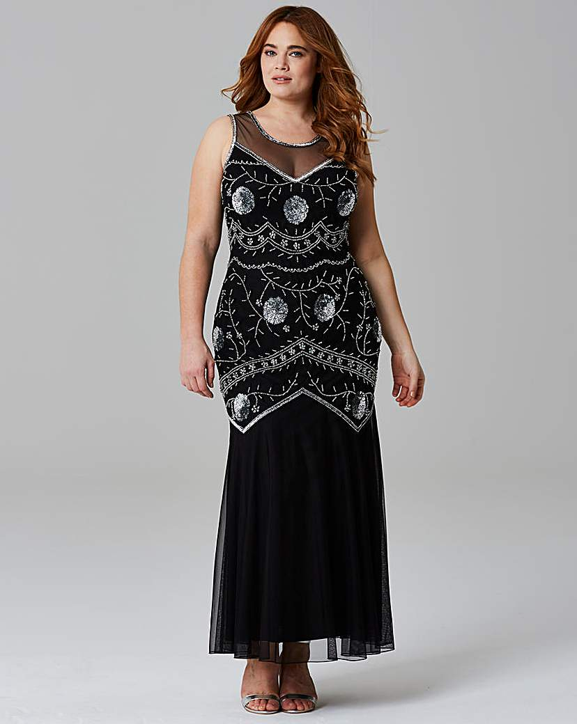 1920s Style Dresses Beaded Maxi Dress £130.00 AT vintagedancer.com