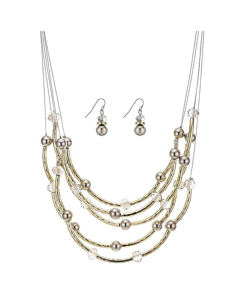 Mood Gold tube necklace and earring set