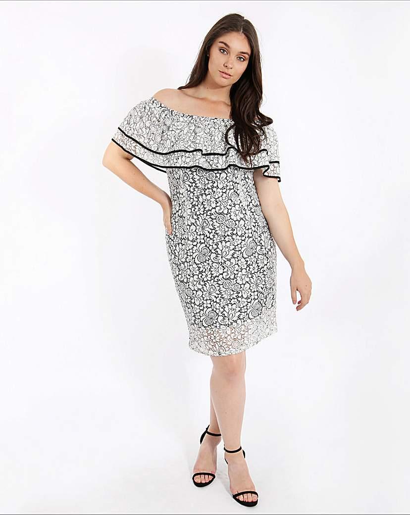 Lovedrobe Lace Bardot Ruffle Dress.