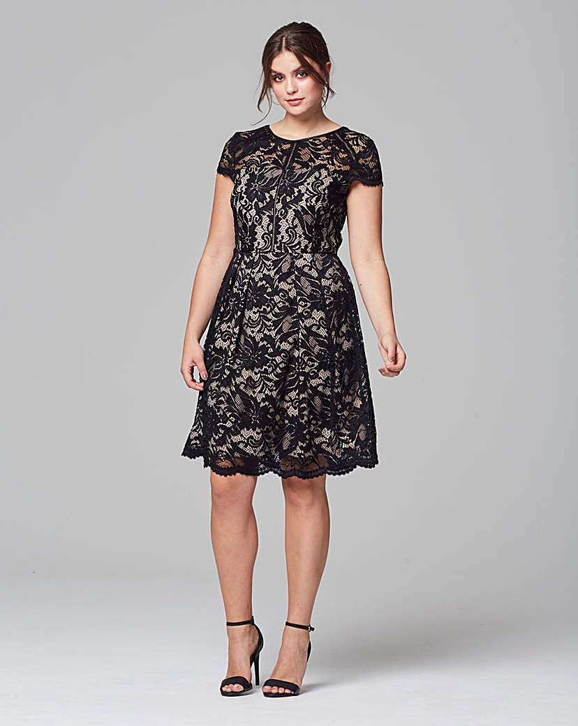 Grazia Contrast Lace Cap Sleeve Dress