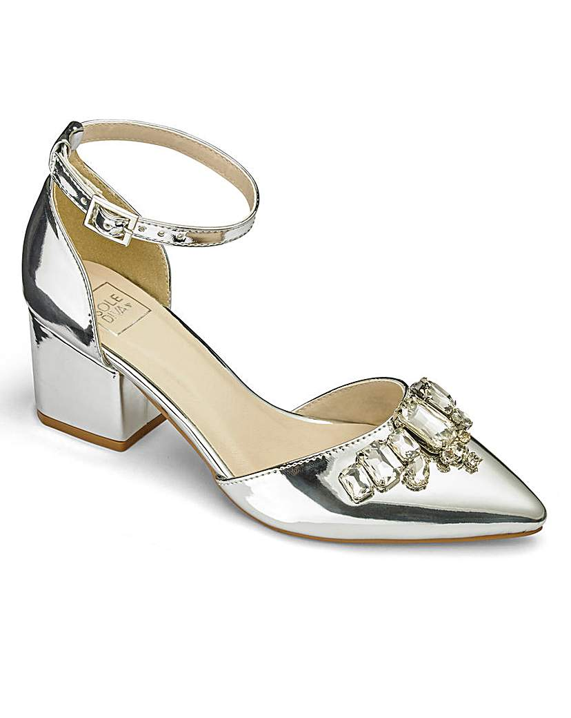 Vintage Style Wedding Shoes, Boots, Flats, Heels Sole Diva Jewelled Court Shoes EEE Fit £19.25 AT vintagedancer.com