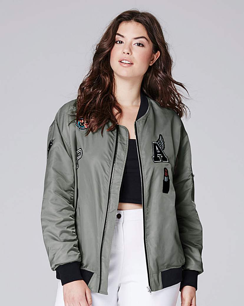 Image of Simply Be Badges Bomber Jacket
