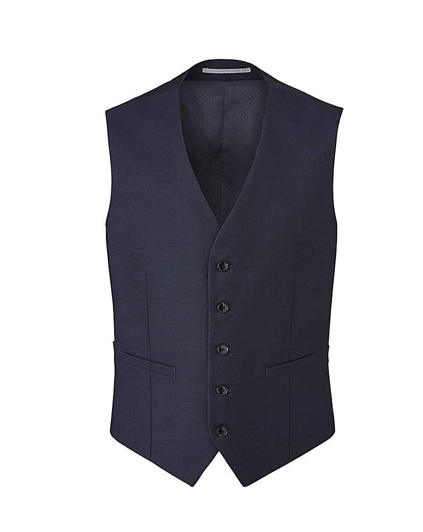 Image of Burton Navy Pindot Suit Waistcoat Reg