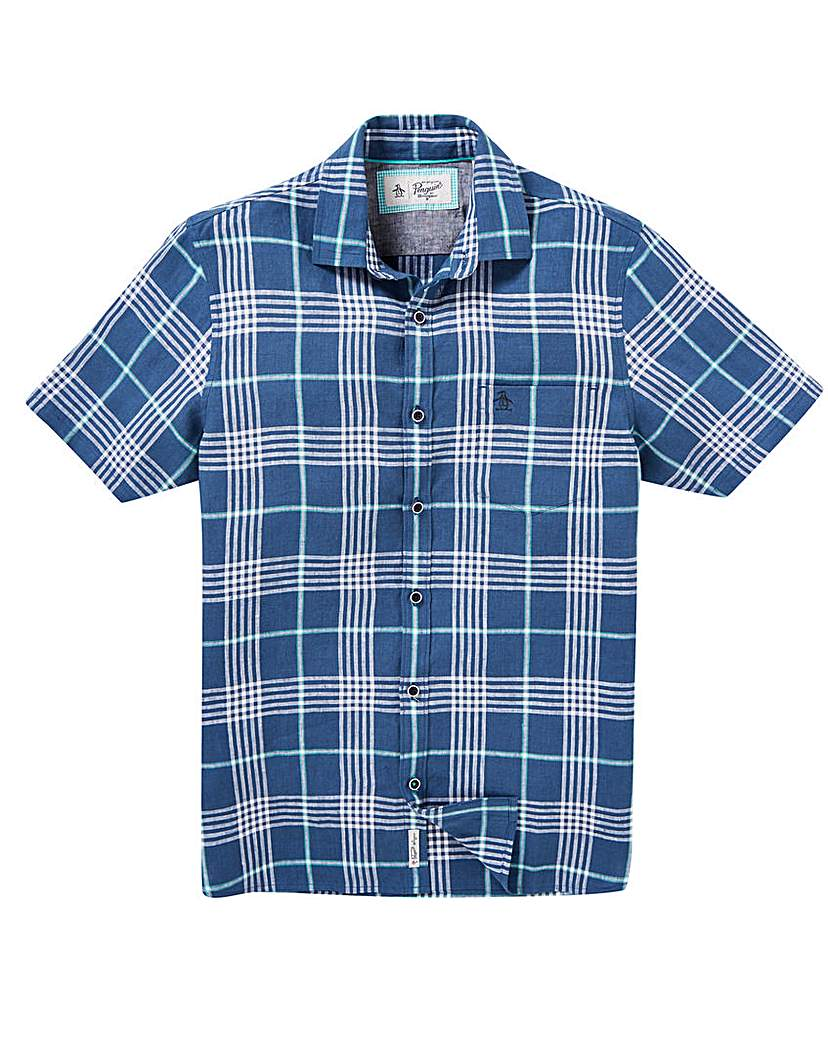 Image of Original Penguin Plaid Linen Shirt