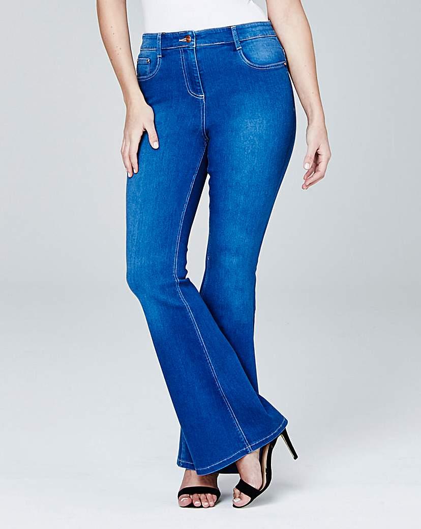 Phoebe High Waist Kick Flare Jeans Short
