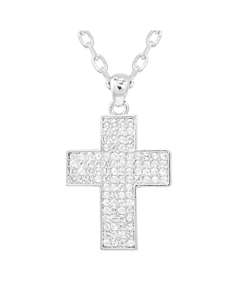 Espree Chunky Crystal Set Cross Pendant