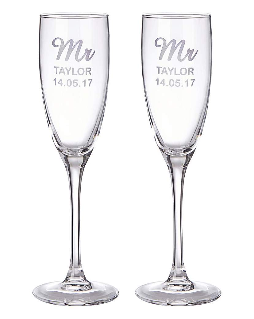 Personalised Set of 2 Champagne Flutes