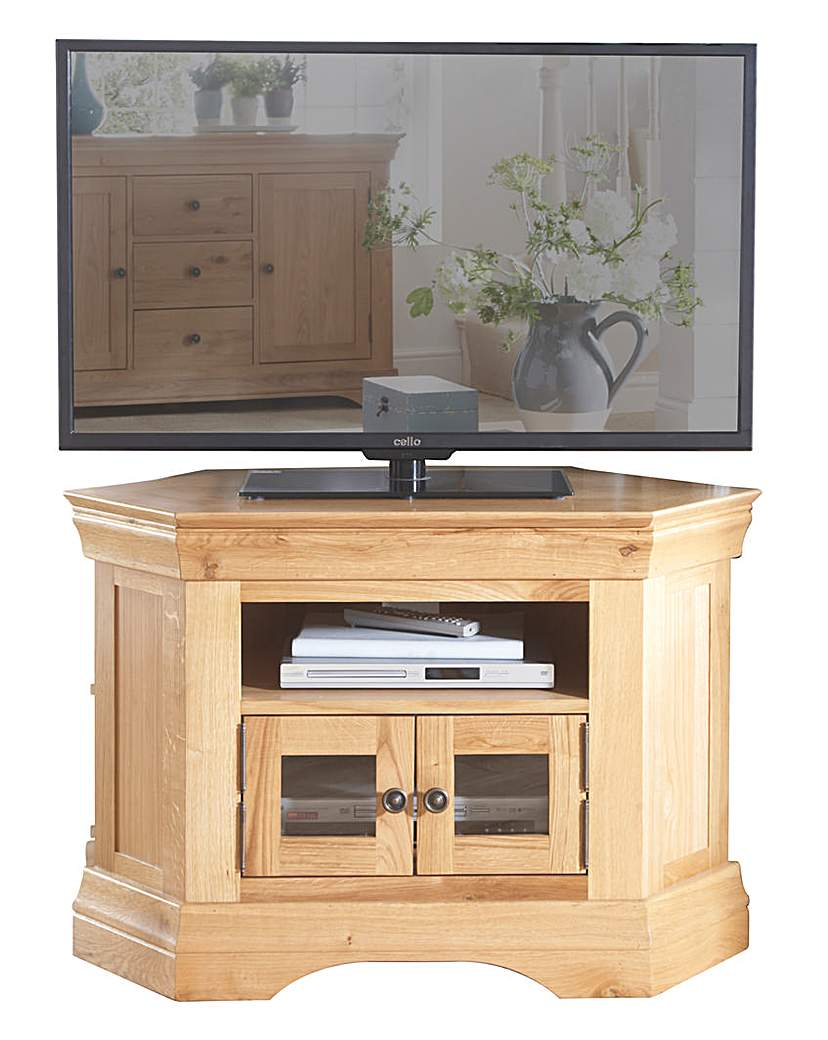 Newark Oak and Oak Veneer Corner TV Unit