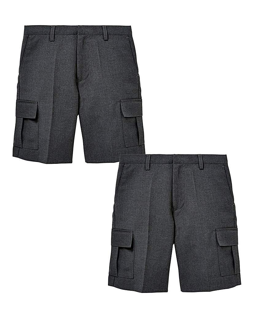 Image of Boys Pack of Two Cargo Shorts